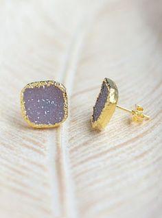 Square Druzy Stud Earrings