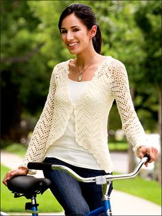 Chevron Lattice Sweater Crochet Pattern Download from e-PatternsCentral.com -- This ultra-feminine, light and lacy cardigan features a beautifully delicate scalloped edging.