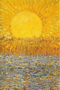 landscape art sunshine fields golden land Good Morning Vincent Van Gogh
