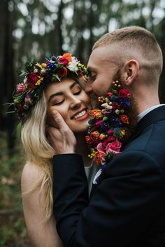 boho bride with flower crown and groom with flower beard