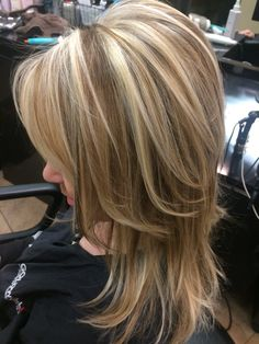 Chunky high/low weave. Blonde and dark blonde