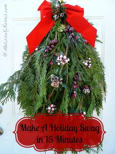 Make this easy holiday evergreen swag in less than 15 minutes. Extremely frugal as you can get the branches usually for free and use existing supplies on hand. This swag will last clear through Christmas and greet guests to your home. Excellent tip on which evergreen variety to use so you don't have needles all over your porch!