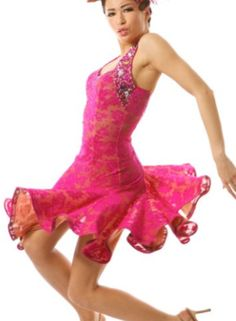 Latin dress in stretch lace, Fuchsia colour, with stone encrusted halterneck