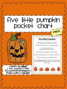 Five Little Pumpkins Pocket Chart {FREE} - Pinned by @PediaStaff – Please Visit  ht.ly/63sNt for all our pediatric therapy pins