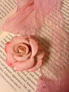 Polymer Clay rose in light pink.