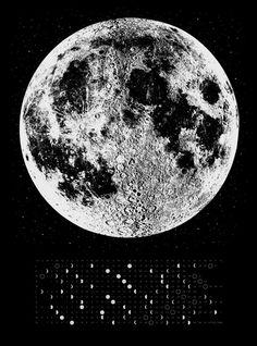 2014 Moon Phases Calendar, 22x30 large screenprint, silver gold or grey print on black, luna lunar wall art, space, stars on Etsy, $40.00