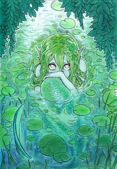 "mermaholic: "" A timid nixie peaks at us from her lily-padded pond. from the artist, Mikiko Ponczeck, here. Art Anime, Anime Kunst, Manga Art, Mermaid Drawings, Art Drawings, Mermaid Paintings, Drawings Of Mermaids, Mermaid Artwork, Drawing Sketches"