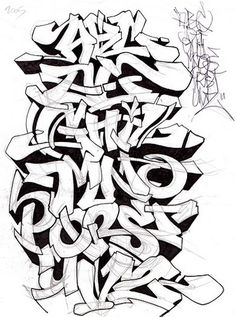 Graffiti Alphabet Sketch A-Z Letters By Mr. Poem | Graffiti Alphabets ...