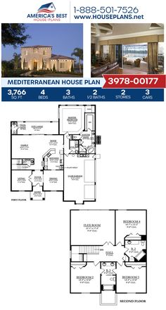 Plan 3978-00177 features a luxurious 2-story Mediterranean home with 3,766 sq. ft., 4 bedrooms, 3 bathrooms, a breakfast nook, a lanai, a flex room, and a formal living room. #mediterraneanhome #twostoryhome #mediterraneanstyle #architecture #houseplans #housedesign #homedesign #homedesigns #architecturalplans #newconstruction #floorplans #dreamhome #abhouseplans #besthouseplans #homesweethome #buildingahome #buildahome #residentialplans #residentialhome 2 Story Houses, Two Story Homes, Mediterranean House Plans, Mediterranean Style, Stucco Exterior, Flex Room, Best House Plans, Formal Living Rooms