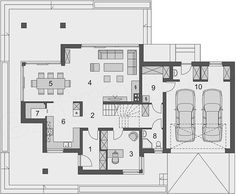 Projekt domu Telmun 2 167,08 m2 - koszt budowy - EXTRADOM Dream House Plans, Planer, Sweet Home, Floor Plans, Flooring, How To Plan, Inspiration, House Template, Architectural House Plans