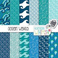 "Sea Digital Paper - ""Ocean Waves"" - hand drawn seamless patterns - wave scrapbook paper in navy, aqua, blue, and teal - commercial use OK"