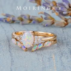 Opal Band, Opal Rings, White Opal Ring, White Gold Rings, Halo Engagement Rings, Engagement Ring Settings, Diamond Cluster Ring, Diamond Bands, Natural Opal