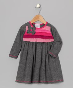 Take a look at this Freckles + Kitty Gray Flower Corsage Dress - Toddler & Girls on zulily today!