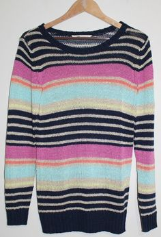 $19.95 Junior's H&M Multi Colored Stripe Long Sleeve Tunic Sweater Size: 9  Scoop Neck #HM #ScoopNeck