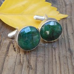 Round Faceted Green Emerald Cufflinks  by FineSilverStudio on Etsy