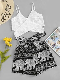 Animal Print Knot Back Cami Top With Shorts -SheIn(Sheinside) Cute Comfy Outfits, Cute Girl Outfits, Girly Outfits, Cute Summer Outfits, Pretty Outfits, Stylish Outfits, Cool Outfits, Girls Fashion Clothes, Teenage Girl Outfits
