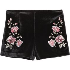 Embroidered Velvet Shorts $34.99 ($35) ❤ liked on Polyvore featuring shorts, velvet, bottoms, hot pants, hot shorts, stretchy shorts, stretch shorts and micro shorts