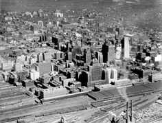 Aerial view of the core of downtown Toronto, Nov. - Courtesy of Canada Science and Technology Museums Corporation. Toronto Skyline, Downtown Toronto, New York Skyline, Toronto Ontario Canada, Aerial View, Cn Tower, Past, History, Architecture
