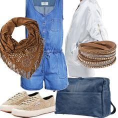 Tuta jumpsuit - mid blue, bomber bianco lurex e sneakers, essenziale per sentirsi eleganti ma comode. Zaino in pelle color denim, accessori che richiamano uno stile urbano ma fresco.