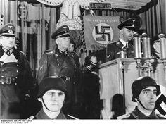 Heinrich Himmler spoke to men of the East Prussian Volkssturm, Oct 1944; Heinz Guderian and Hans-Heinrich Lammers also present