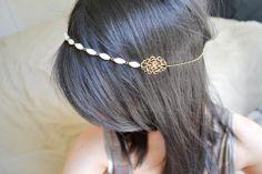 Headband bijoux de cheveux nacre olive bronze et blanc : Autres bijoux par hoa