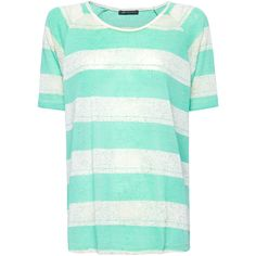 MANGO Oversize striped t-shirt ($25) ❤ liked on Polyvore featuring tops, t-shirts, shirts, blusas, green, oversized shirt, striped t shirt, polyester shirt, t shirts and striped tee
