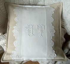 Pillow - canvas and white with monogram and eyelet