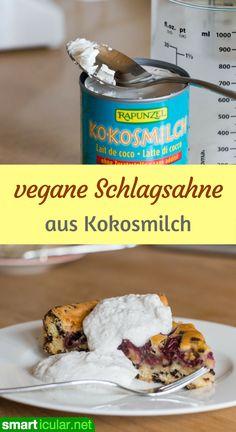 Mit diesem Rezept kannst du eine köstliche Schlagsahne aus Kokosmilch herstellen. Lecker zu Obstkuchen, Eis oder für vegane Torten!