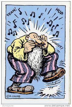 "lovedukedennington: "" chrisgoesrock: ""Robert Crumb - Harmonica Blues "" Have a great weekend 😎🎹🎸🚴🏻♀️☕️🌴🌴🌴🌴🌴 "" …Late sixties and early seventies. Robert Crumb, Mr Natural, Zap Comics, Fritz The Cat, Belated Birthday Wishes, Happy Birthday, Robert Williams, Illustration, Hippie Man"
