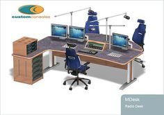 Design and Manufacture of Custom Control room furniture and Standard Control room furniture, Ergotron, noc furniture,Technical furniture and Height adjustable desks, Cabinet maker job vacancies Podcast Setup, Podcast Ideas, Audio Studio, Recording Studio Home, Studio Desk, Home Studio, Custom Consoles, Adjustable Height Desk, Dj Booth