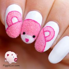 How cute is this little fuzzy bear with flocking powder, inspired by CreatiNails on Instagram. His head turned out kind of pointy, but we still love people with pointy heads so why not bears ;-)