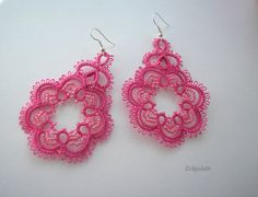 "Items similar to Pink tatted lace earrings - ""Cyclamen"" - pink flowers, cherry blossom on Etsy Lace Earrings, Crochet Earrings, Tatting Jewelry, Tatting Patterns, Cherry Blossom, Pink Flowers, Etsy, Pink Blossom, Cherry Blossoms"
