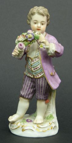 MEISSEN PORCELAIN FIGURE OF BOY w FLOWERS