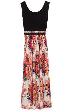 Black Sleeveless Elastic Waist Floral Pleated Dress