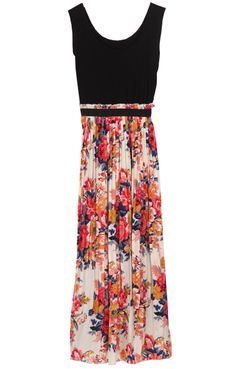 Black Sleeveless Elastic Waist Floral Pleated Dress