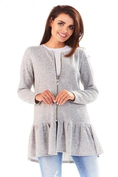 Cardigan dama cu peplum Peplum, Tunic Tops, Adidas, Blouse, Outfit, Long Sleeve, Sleeves, Women, Products
