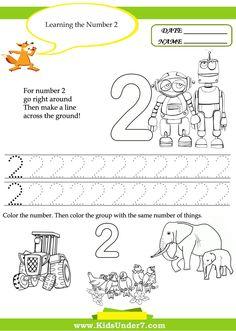 Coloring Activities for Kindergarten 2 New Kids Under 7 Free Printable Kindergarten Number Worksheets Shape Tracing Worksheets, Number Worksheets Kindergarten, Kindergarten Coloring Pages, Number Tracing, Printable Preschool Worksheets, Kindergarten Readiness, Writing Worksheets, Free Preschool, Worksheets For Kids