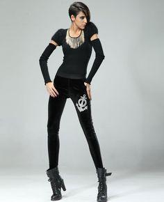 Crystals-encrusted Anchor Pattern Skinny Pants | BlackFive