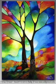 Abstract tree painting 36x24 inch original por SallyTraceFineArt