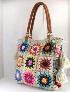 """SALE Crochet granny squares handbag with tassels and genuine leather handles, Crochet Bag, Tote Bag, Boho Style Bag, Summer Bag"" Crochet Purse Patterns, Crochet Tote, Crochet Handbags, Crochet Purses, Filet Crochet, Knit Crochet, Crochet Granny, Granny Square Bag, Granny Squares"