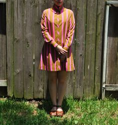 1960's Ellen Tracy Vintage Mod Green and  Hot by GreyvilleVintage, $65.00