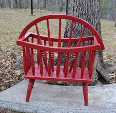 Vintage Wood Magazine Rack Spindles Red Knitting by PanchosPorch, $45.00