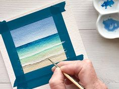 Watercolor Beginner, Watercolor Paintings For Beginners, Watercolor Projects, Watercolour Tutorials, Step By Step Watercolor, Watercolor Techniques, Painting Tutorials, Watercolor Art Landscape, Watercolor Sunset