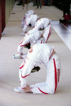 Team Russia training rhythmic gymnastics.