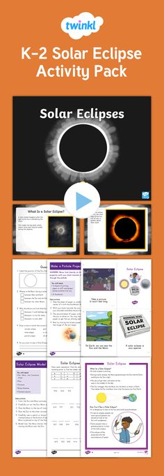This fantastic Solar Eclipse  Activity Pack contains everything you need to teach your children about the scientific wonder of a solar eclipse! Includes scientific fact files, differentiated reading comprehension activities, an emergent reading booklet, interactive picture hotspots, an informational powerpoint, math activities, craft activities, and a variety of display posters - Twinkl