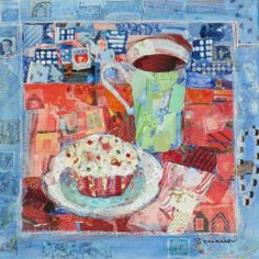 "Breakfast is Served, mixed media collage painting by Susan Minier. Original art 12 x 12"", $275 from www.susanminier.com"