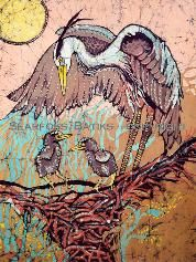Heron and Company Batik by Janet Searfoss
