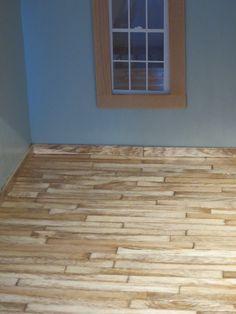 Wood floor made from craft sticks.