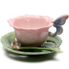 • cute pot flowers pink tea cup pastel butterfly rose roses tea party teapot butterflies teacup teatime tea time tea break noctuaathena •