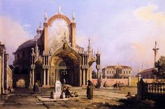 Canaletto, Capriccio of a circular church with elaborate Gothic porch in a Palladian Square, 1755